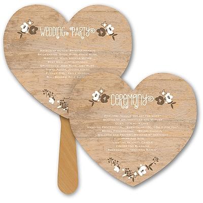 Wood Grain Floral Heart Program Fan