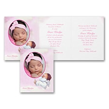 Sweet Cherub - Baptism Invitation - Pink