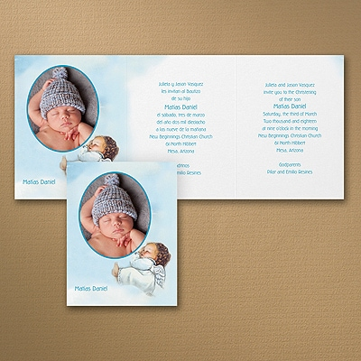 Sweet Cherub - Baptism Invitation - Blue