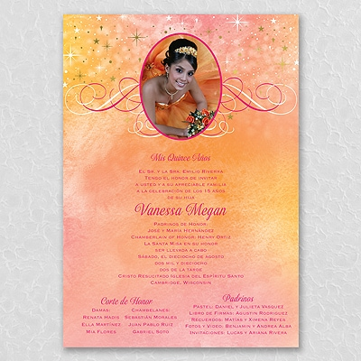 under the stars invitation scroll fuchsia quinceañera carlson