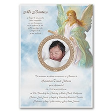 Baptism Christening Invitation: Glowing Guardian Angel