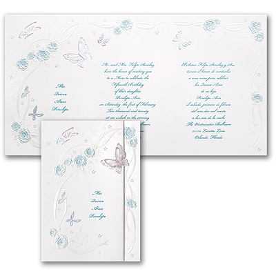 Butterflies and Ribbons - Invitation - Aqua