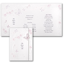 Butterflies and Ribbons - Invitation - Pink