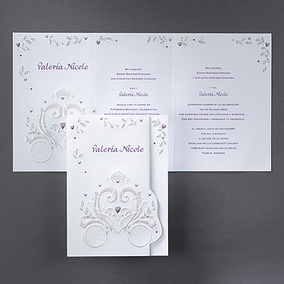 Princess Carriage - Invitation - Mulberry