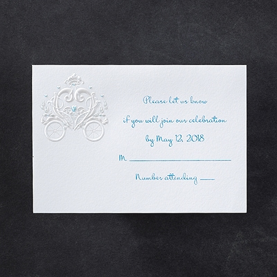 Princess Carriage - Response Card and Envelope - Blue