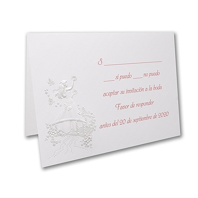 Blushing Butterflies - Response Card and Envelope - Pink