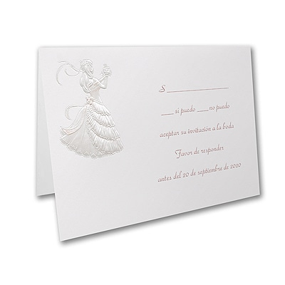 Delicate Silhouette - Response Card and Envelope - Pink