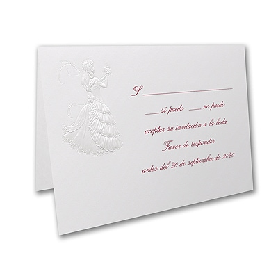 Delicate Silhouette - Response Card and Envelope - Pearl