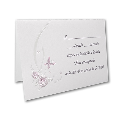 Butterflies and Ribbons - Response Card and Envelope - Pink