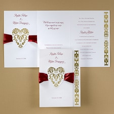 ribbon invitation: Hearts and Ribbons