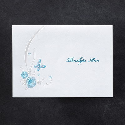 Butterflies and Ribbons - Thank You Note - Aqua