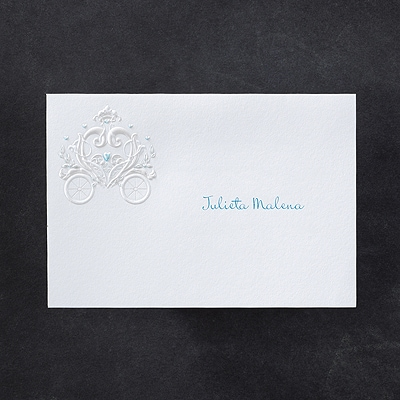 Princess Carriage - Thank You Note - Blue