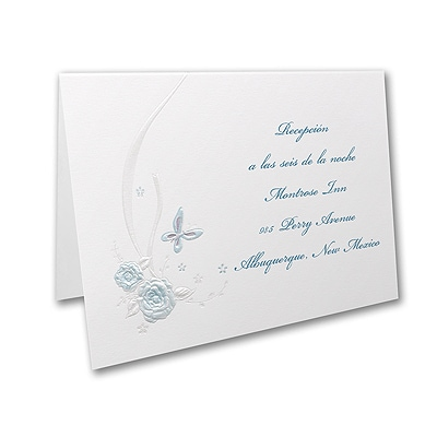 Butterflies and Ribbons - Reception Card - Aqua
