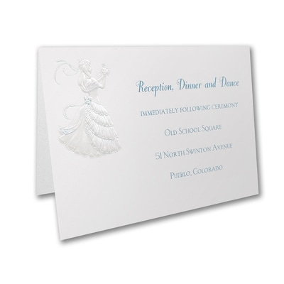 Delicate Silhouette - Reception Card - Aqua