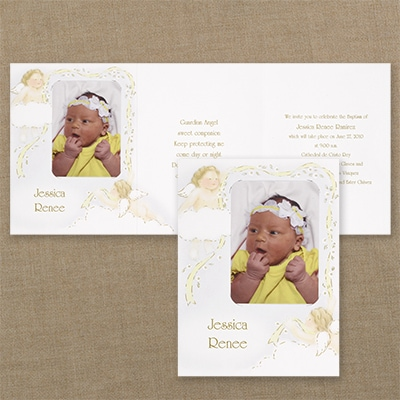 Golden Cherubs - Baptism Invitation
