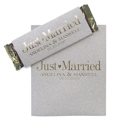 Sweetest Love - Silver Glitter Candy Bar Wrapper