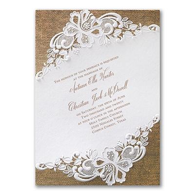 Rustic battenburg lace invitation gt wedding invitations for Staples wedding invitations coupons