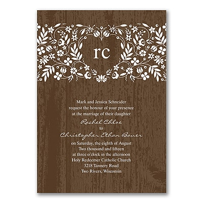 Woodland Flowers - Invitation - Mocha
