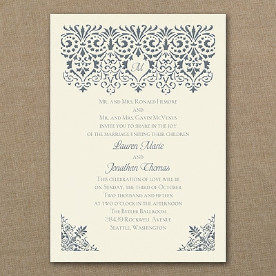 Damask Banner - Invitation - Ecru