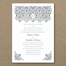 Damask Banner  - Monogram Invitation