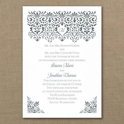 Damask Banner - Invitation - White