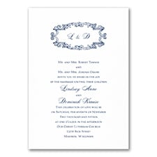 Monogram Swirls - Invitation - White