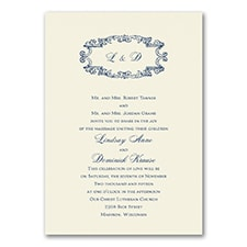 Monogram Swirls - Invitation - Ecru