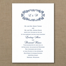 Monogram Swirls  - affordable and cheap invitation