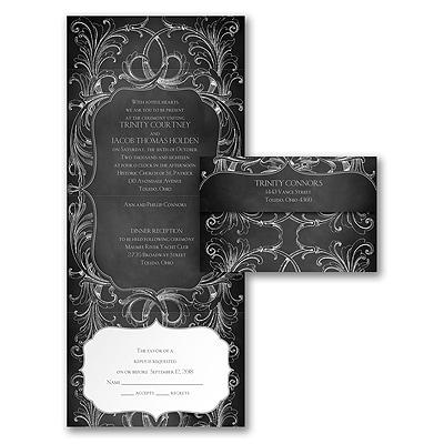 Chalkboard Flourish Seal N Send Invitation Wedding Invitations