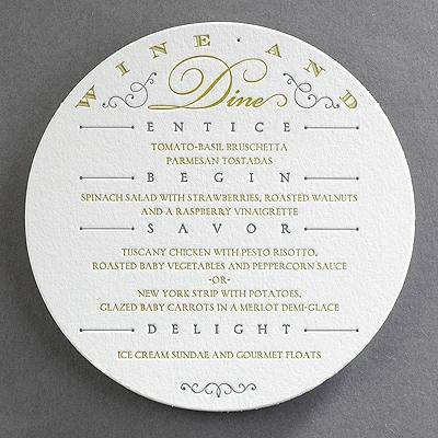 Letterpress Wine and Dine - Menu Card