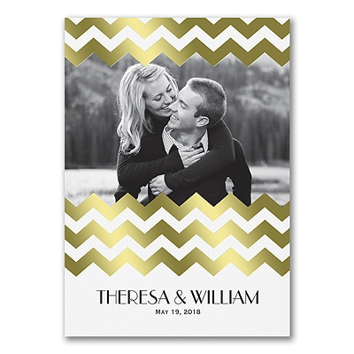 Chevron Shimmer - Photo Invitation - Gold