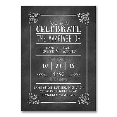 Chalkboard Design - Photo Invitation - Silver