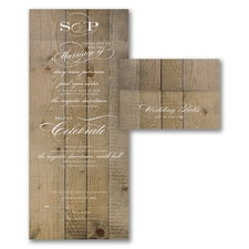 Vintage wedding invitation: Vintage Woodgrain Love