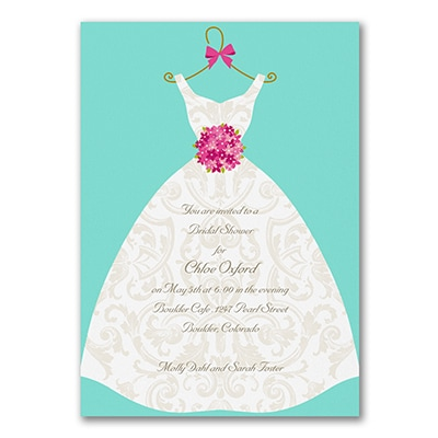 Damask Dress - Bridal Shower Invitation