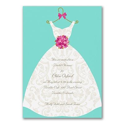 damask dress bridal shower invitation