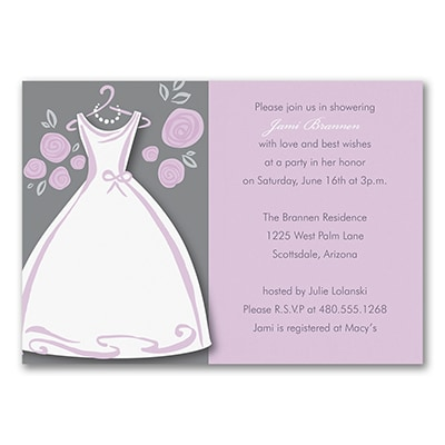 Purple Posies - Bridal Shower Invitation