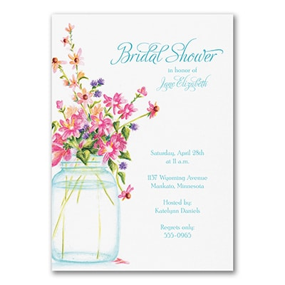 Jar of Flowers - Bridal Shower Invitation