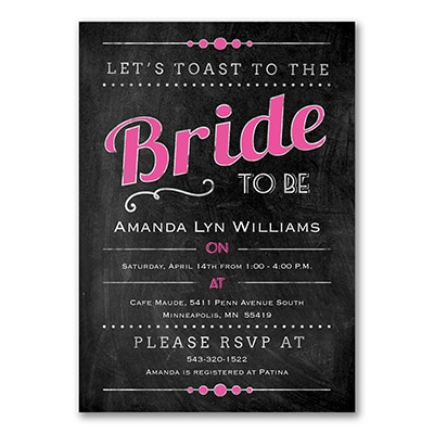 chalkboard romance bridal shower invitation