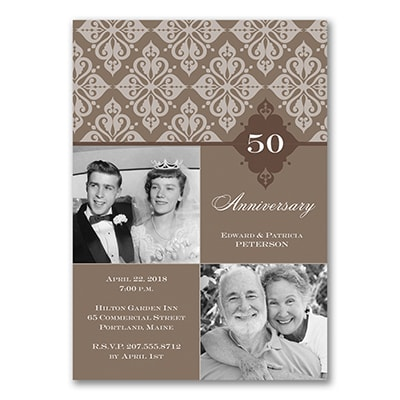 Bold Damask Photo - Anniversary Invitation - Espresso