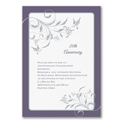 Elegant Flourishes - Anniversary Invitation - Raisin