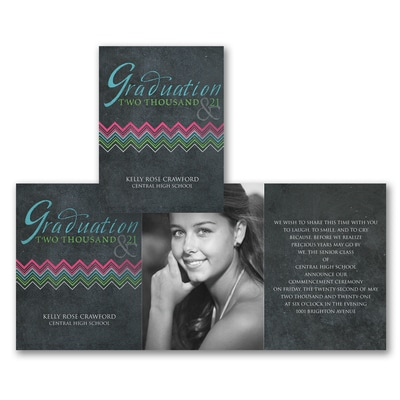 Chalkboard Chevron - Photo Graduation Invitation
