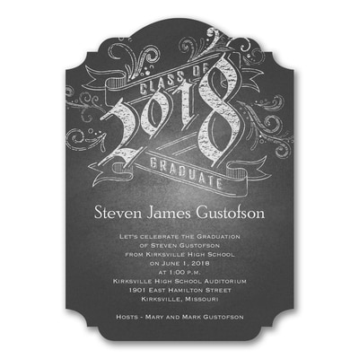 Chalkboard Announcement - Graduation Invitation