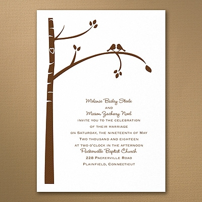 Birch Tree Love - Invitation - White