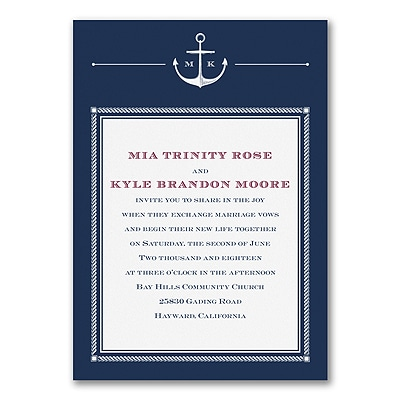 Anchors Aweigh - Invitation - White