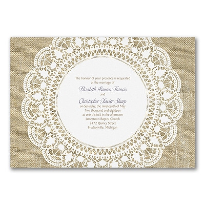Surrounded in Lace - Invitation - White