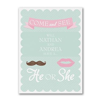 He or She Gender Reveal - Invitation