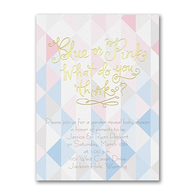 Blue or Pink Gender Reveal - Invitation