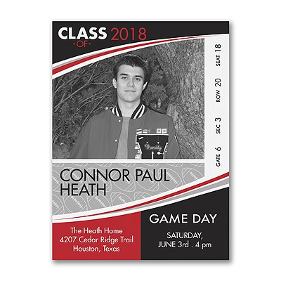 Game Day - Football - Photo Graduation Invitation