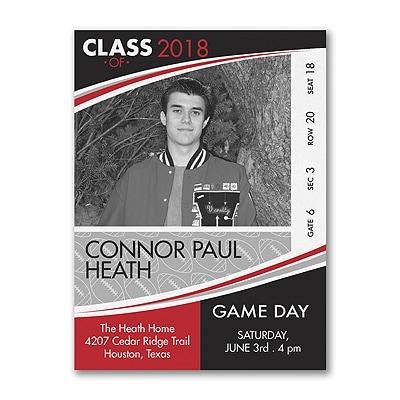 Game Day - Football - Photo Graduation Invitation