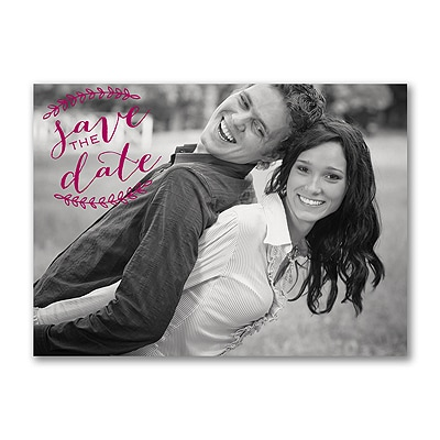 Rustic Leaves - Photo Save the Date Postcard